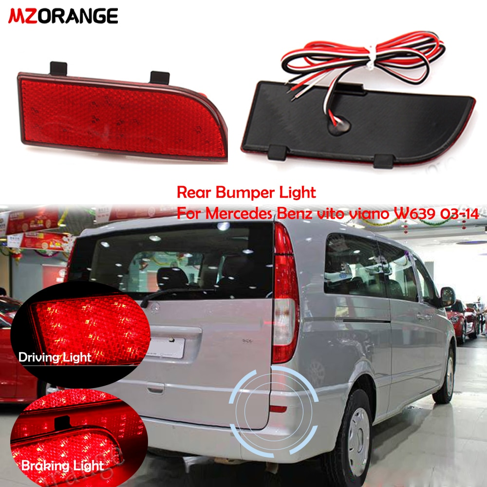 MZORANGE 2PCS LED Rear Bumper Reflector Brake Fog Light Tail Light for Mercedes Benz vito viano W639 2003-2014 warning light