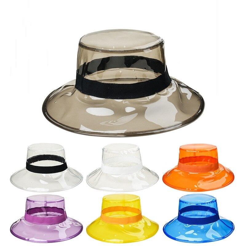 ¡Producto en oferta! Gorra transparente de PVC de siete colores para mujer, pasarela, boda, fotografía, sombrero de pescador de plástico