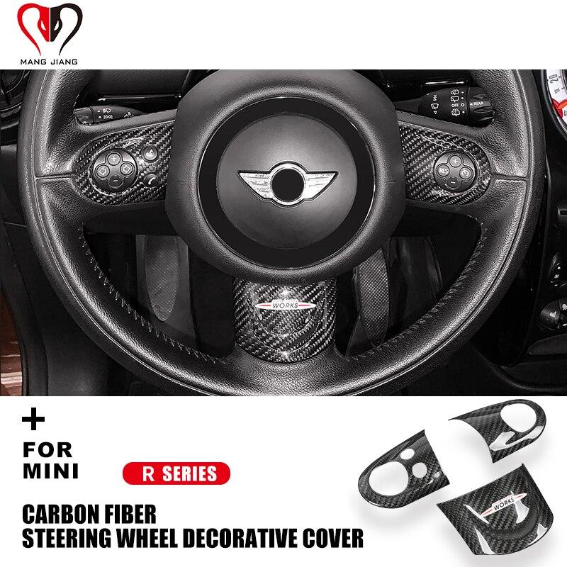 Couverture de volant en Fiber de carbone   Autocollant décoratif dintérieur pour Mini Cooper R55 R56 R57 R58 R59 R60 Clubman Countryman
