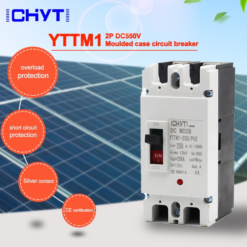 ICHYTI YTTMI-250/PV2 مصبوب حالة الدائرة الكسارة التبديل 2P 550V 160A 200A 250A DC مكب الشمسية بطارية التبديل الرئيسي
