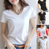 basic solid color t shirt female v neck tops summer womens short sleeve black white t shirt round neck casual tee shirts
