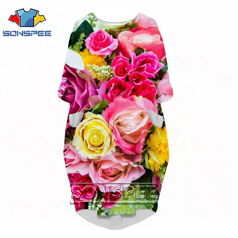 Camiseta divertida de moda con estampado 3D rock Flor Retro rose Harajuku lass para mujer vestido de anime logo chica ropa de manga larga vestido de fiesta