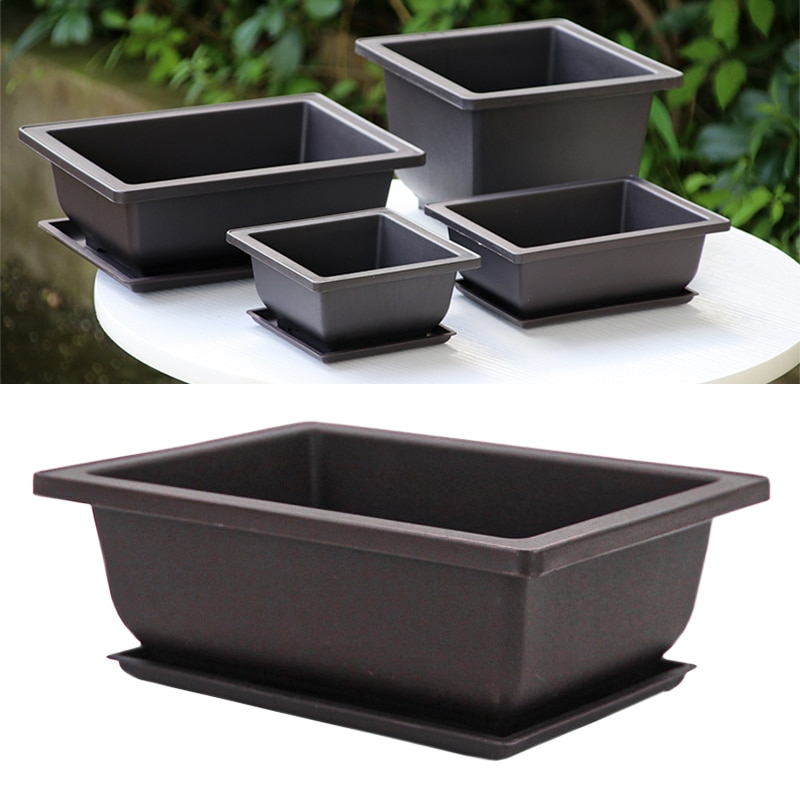 Imitation Purple Sand Trays For Flower Pots Corrosion Resistant Breathable Square And Rectangular Plastic Flower Bonsai Plant