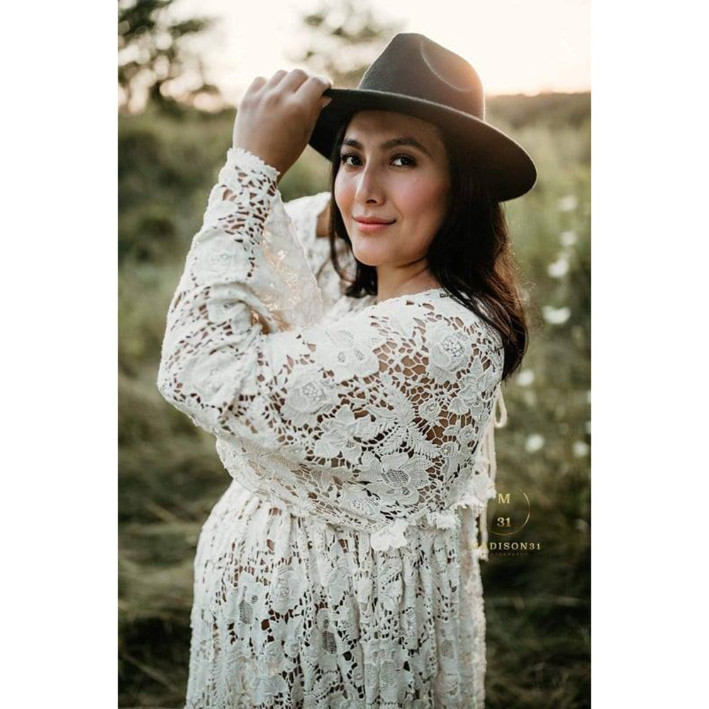 Boho Dress Vintage Beige Cotton Embroidery Maternity Gown Long Sleeves Pregnancy Dress for Photography Prop Baby Shower Gift enlarge