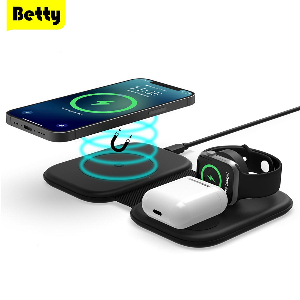 Betty 3 in 1 Wireless Charger iPhone for 12 Pro Magnetic station Airpods iWatch Charger adapter Mags