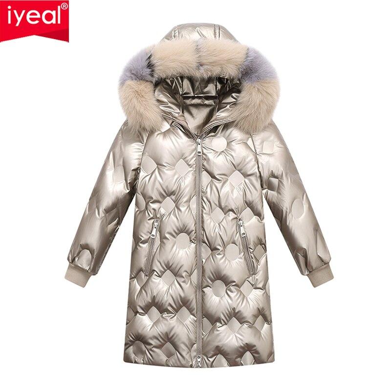 Брендовая одежда для мальчиков и девочек теплый пуховик Детское пальто-Парка утепленная верхняя одежда с натуральным мехом для подростков ...