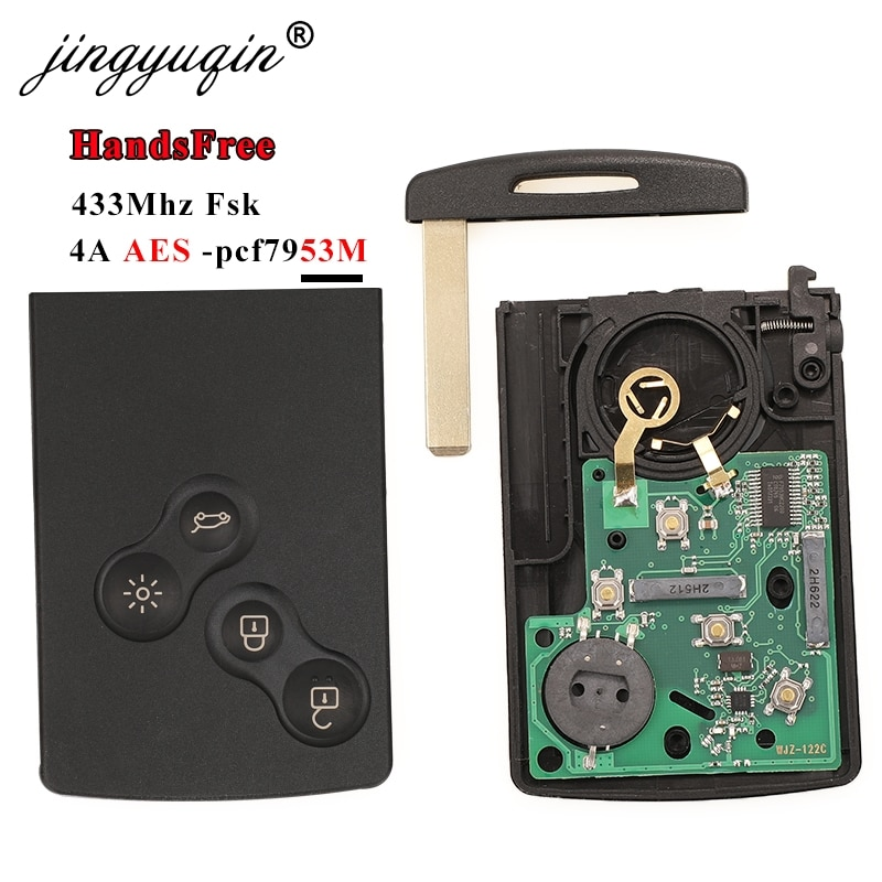 jingyuqin 433MHz 4A PCF7953 Chip Car Key Card For Renault Clio IV Captur Passive Keyless Go Entry Remote Smart HandsFree System