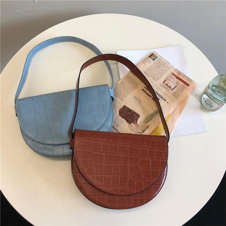 Vintage Crocodile Womens Bag 2020 New Summer Alligator Shoulder Bags Luxury Handbags Leather Hasp Semicircle Underarm Saddle Bag