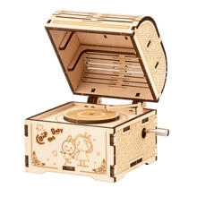 DIY Hand Crank Music Box Model 3D Wooden Puzzle Toy Self Assembly Wood Craft Kit Adult Kids Toy Pare