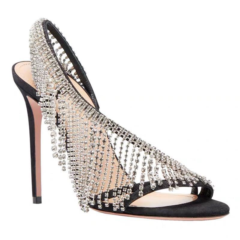 Cristal à franges sandales femme nouvel été mince talons hauts pompes strass bout profond chaussures à talons hauts femmes Slingbacks sandales