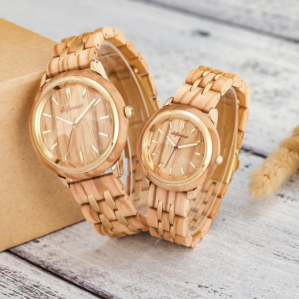 ساعات الزوجين لعشاق ساعة خشب فاخرة رجالي موضة خشبية النساء فستان ساعات هدايا لعيد الحب Relogio de casal
