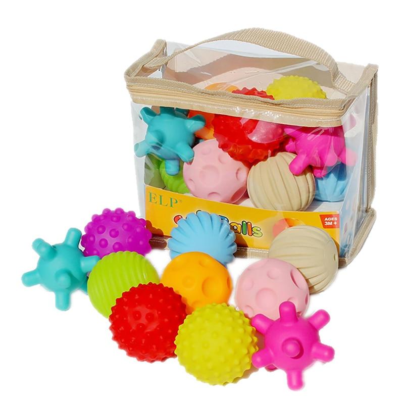 10 PCS Baby Toys Hand Grasping Children Ball Soft Toy Ball Baby Training Massage Soft Balls Textured Multi Ball Set Senses Toy