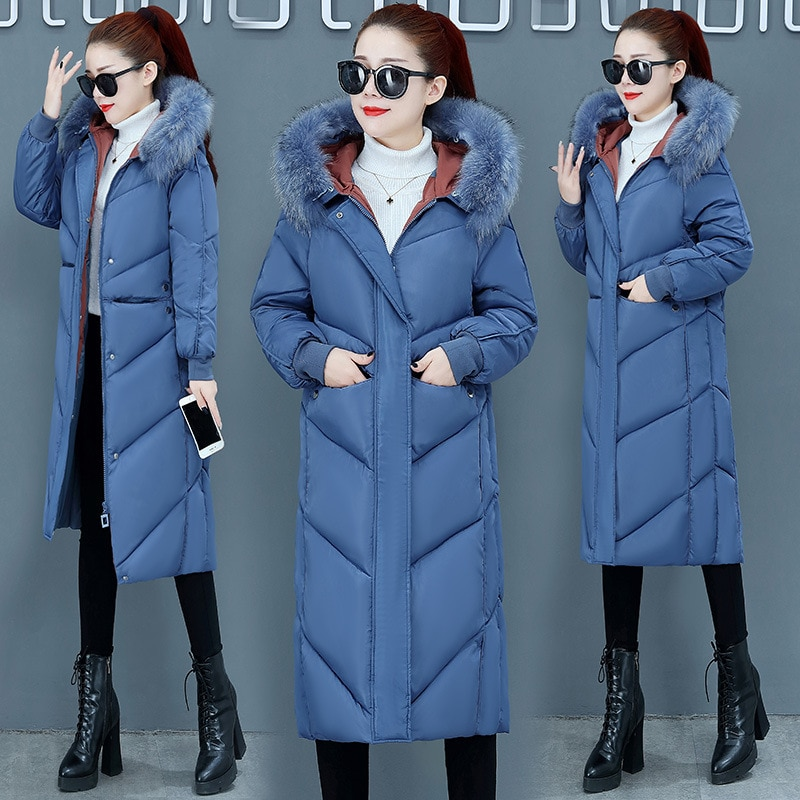 Женская куртка-пуховик, теплая плотная куртка на утином пуху, женская верхняя одежда с капюшоном и длинным рукавом, удлиненная версия, Женск...