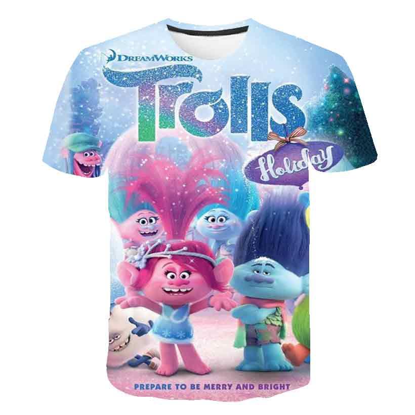 2020 verano niños moda 3D camiseta anime niños niñas coloridos Trolls lindo diseño de marca camiseta niños adorable Jersey camisetas