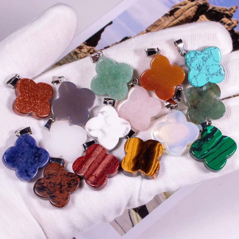 50 pcs Natural Stone Crystals Quartz Crystal Turquoises Opal Tiger Eye Leaf Pendant Pendulum Charms For Necklaces Jewelry Making
