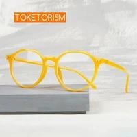toketorism trendy yellow frame oversized anti blue glasses woman man blue light blocking eyeglasses