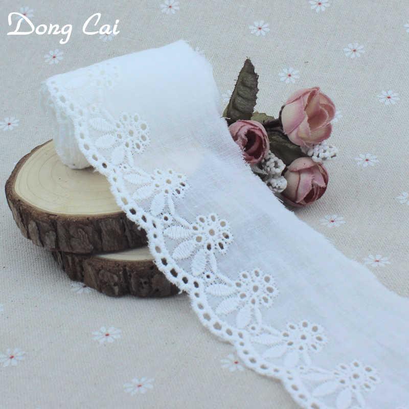 6 jardów 6cm szerokość kremowa bawełniana haftowana koronki wykończeniowe na kostium ozdoby wstążka z aplikacją taśmy DIY szycie koronki tkaniny