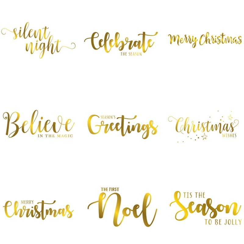 Feliz Navidad conjunto de palabras de saludos artísticos Navidad temporada Popular placas de papel de aluminio caliente para álbum de recortes DIY tarjetas de papel Arte Nuevo 2019