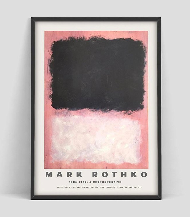 Cartel de exposición de Mark Rothko para la exposición de arte del Museo guggenim, arte hecho a mano, pintura al óleo de Mark Rothko