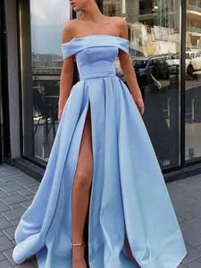 Sky Blue Prom Dresses A-line Off The Shoulder Slit Sexy Dubai Saudi Arabic Robe De Soiree Long Prom Gown Evening Dresses