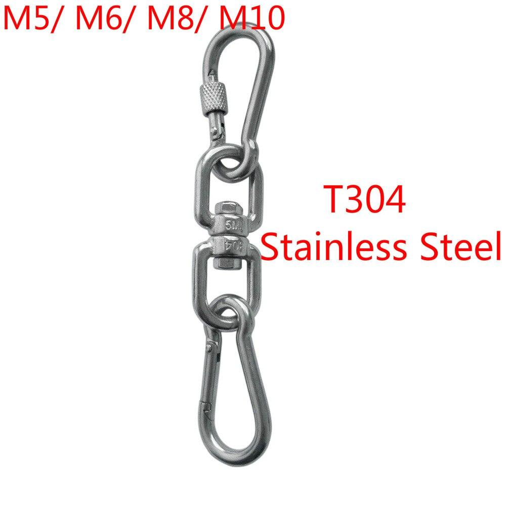 Aro de acero inoxidable 304 con gancho de doble punta giratorio mosquetón resorte grillete gancho conector de anillo M5/ M6/ M8/ M10