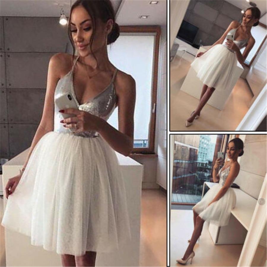 Fashion Women's Sequin Spaghetti Strap V neck Bridesmaids Dress Evening Party Mini Ball Gown Dress