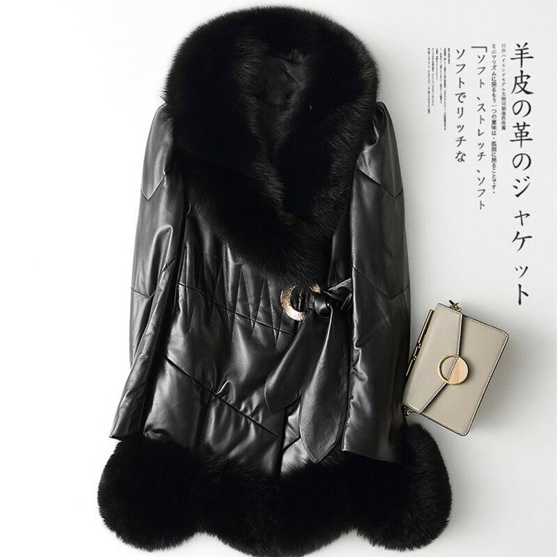 Abrigo nuevo de piel de oveja para mujer, cuello de piel de zorro de invierno, ropa de abrigo de piel delgada de largo medio, abrigo de piel de plumón, ropa femenina de cuero genuino