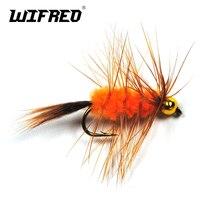 Wifreo 6 pièces 10 # perle tête marron Hackle Orange laineux ver Bug mouche truite pêche mouches