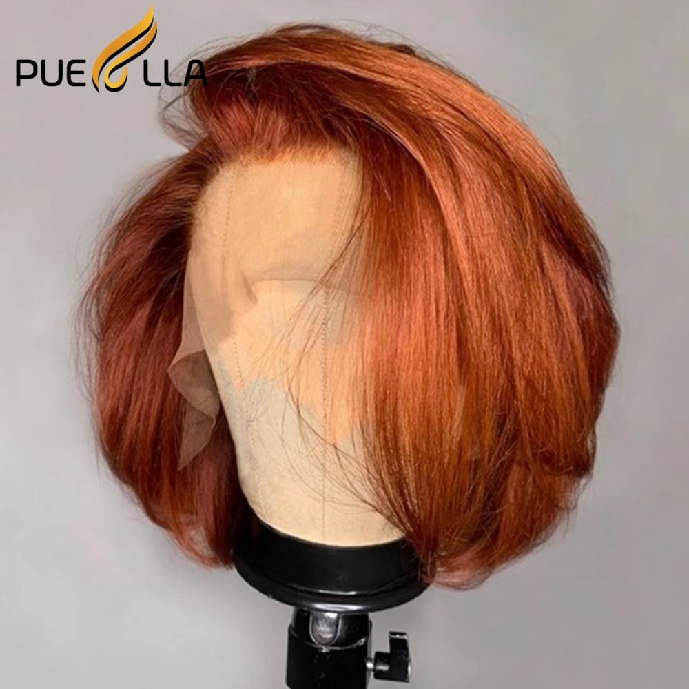 Side Part 5x5 Lace Closure Wig Brown Ginger Lace Front Wig Brazilian Colored Human Hair Short Bob Wig Lace Front Human Hair Wigs