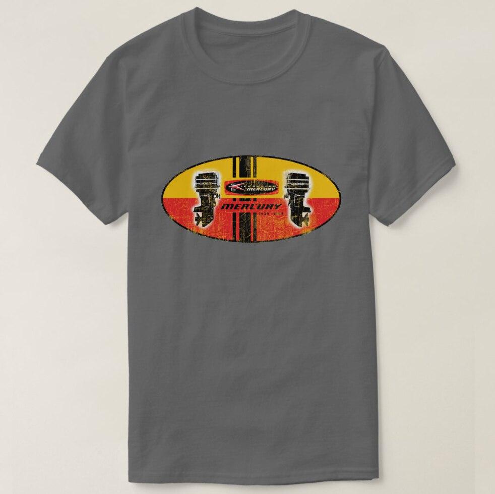 2019 hombres impresos Camiseta de algodón de manga corta Vintage Mercury outboard motors sign camiseta mujer camiseta