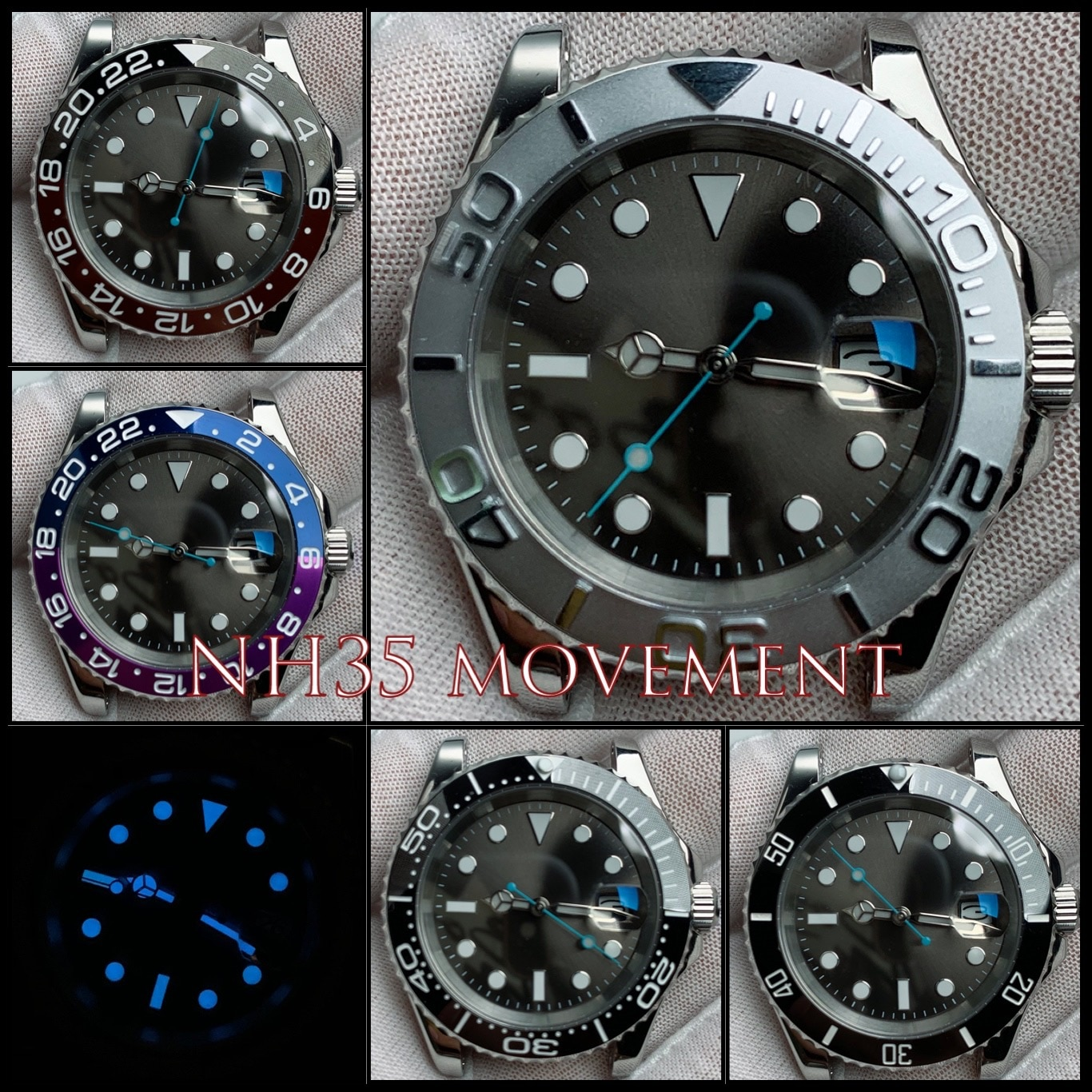 NH35 Automatic Movement Stainless Steel Watchcase Men 40mm Sapphire Mirror Glass Gray Dial Ceramic Bezel Blue Luminous with Box