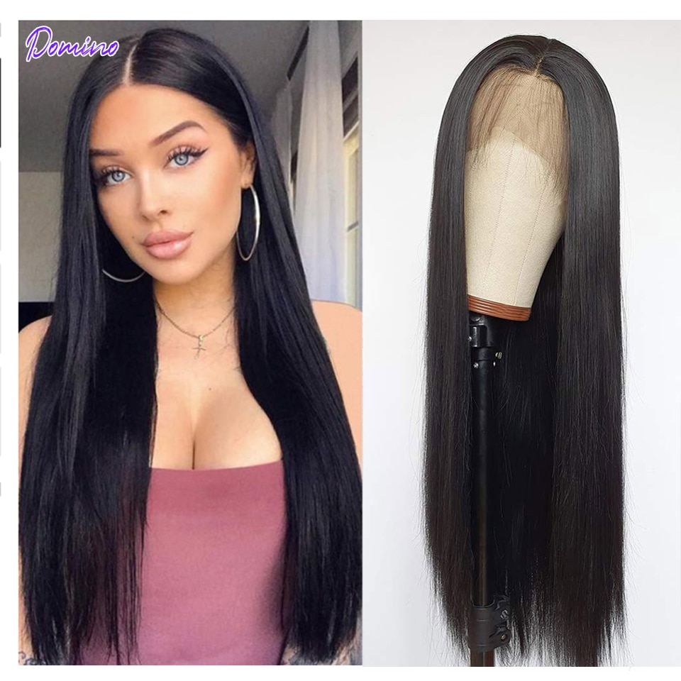DOMINO Lace Front Human Hair Wigs Straight 4x4 Pre Plucked 180% Brazilian Remy Hair 4x4 Closure Wig 30 Inch Frontal Wigs Women