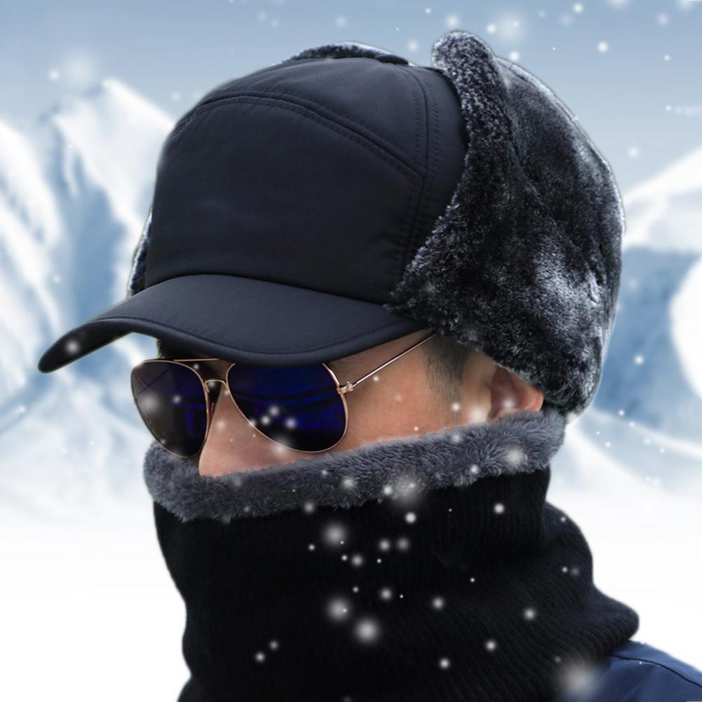 Newest Windproof Warm Hat Men Women Bomber Faux Fur Ear Flap Hat Cap Winter Ski Trooper Trapper Soli
