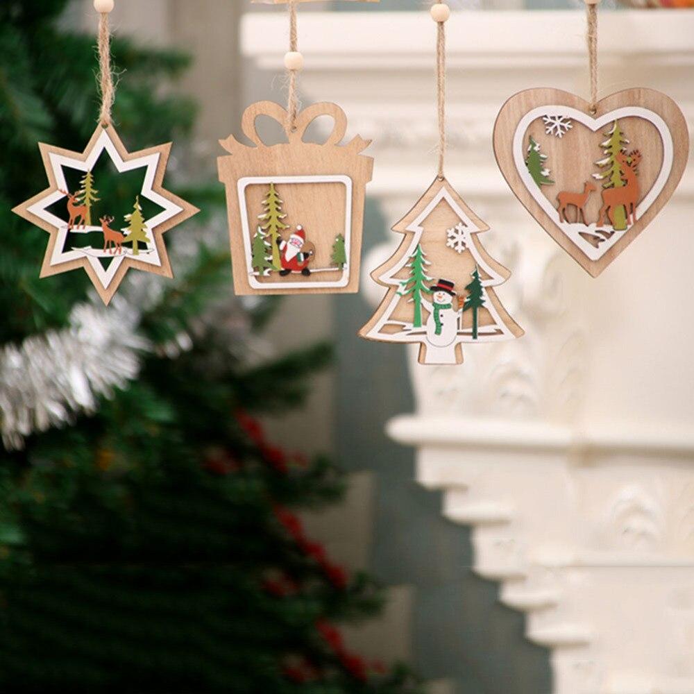 Adorables piezas de madera de dibujos animados DIY adornos recortes arte manualidades suministros Navidad adorno hogar fiesta decoraciones