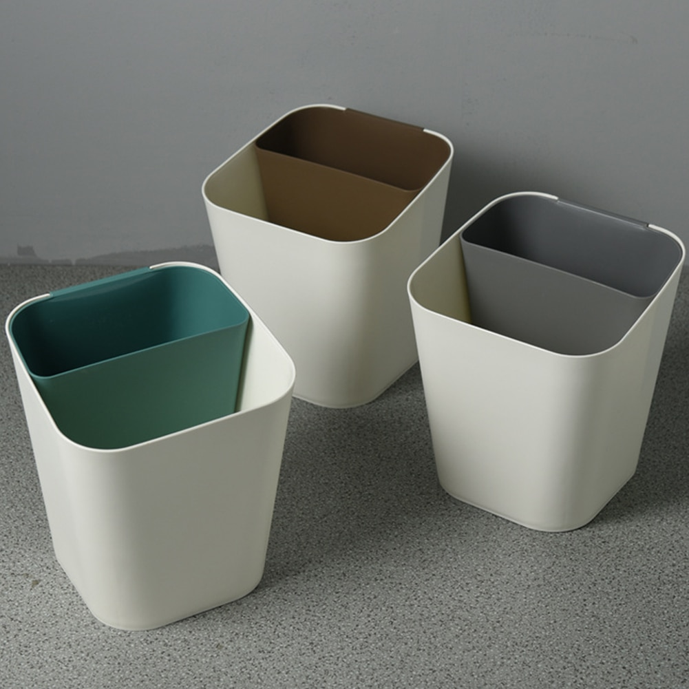 Nordic seco molhado plástico lixo pode dupla classificação de uso doméstico criativo sala de estar papel lixo pode engrossado balde plástico