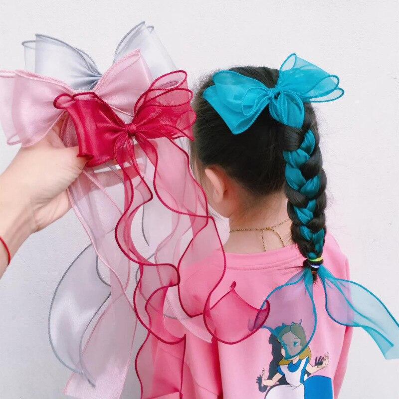 Women Fashion Bow Lace Ribbon Big Bow Hair Accessories Headband Sweet Girl Hair Ornament Hair Clips Hair Ties Headdress Hairpin