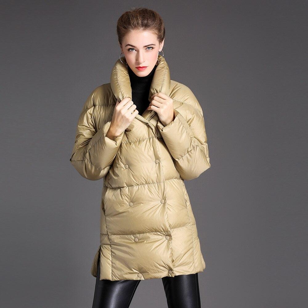 Women down coats luxury autumn winter warm fashion 90% white duck down Jackets Female lady long puffer hooded casual yellow