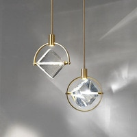 Square crystal pendant lights villa luxury hotel bedroom bedside modern deco nordic light led hanging lamp fixtures