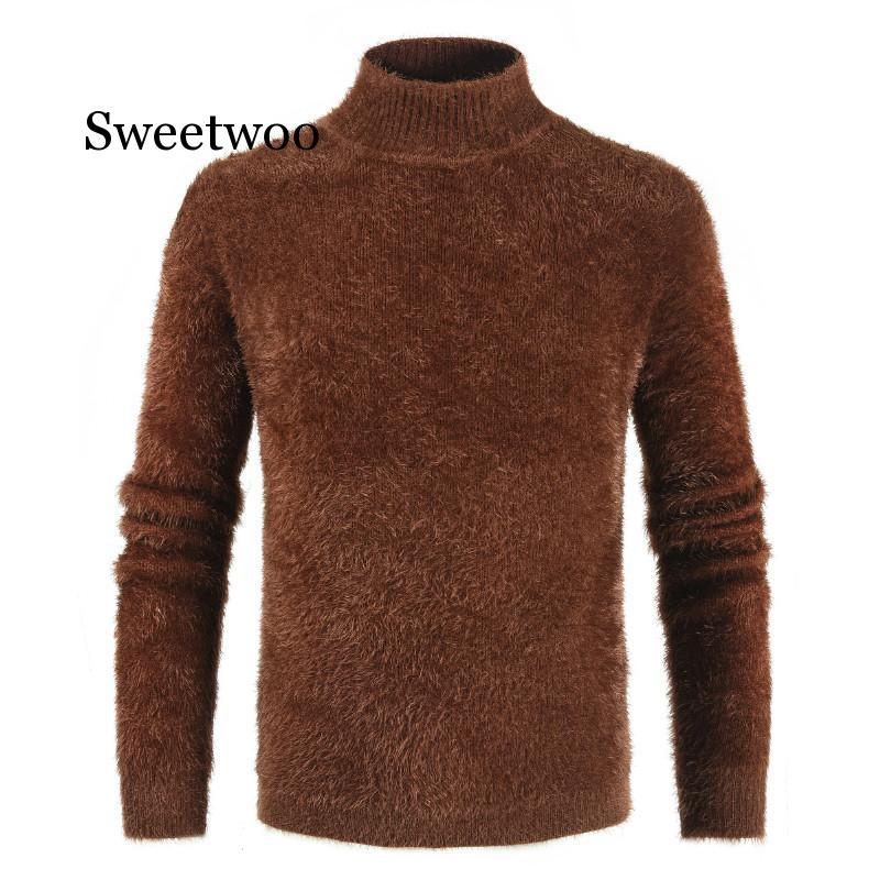 2020 korean long knitted turtleneck men loose ooversized turtleneck men sweater streeetwear black turtleneck sweater men winter Men's Turtleneck Knitted Sweater Cashmere Wool Winter Sweater Men 2019 Turtleneck Pullover Man Swetry Pull Col Roul Homme