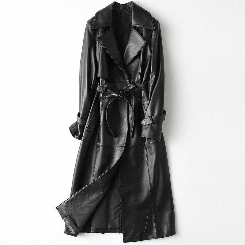 الربيع لينة جلد طبيعي المرأة سترة واقية معطف أسود مع حزام جودة عالية طويلة الأكمام ترتيب الأسرة طوق سترة جلد الغنم