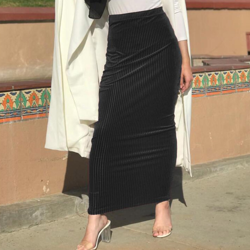 Kobiety długi muzułmaninem spódnica wysokiej talii Stretch dubaj arabski obcisła spódnica islamskie ubrania jupiter Musulman czarna spódnica ołówkowa spodnie i spódnice