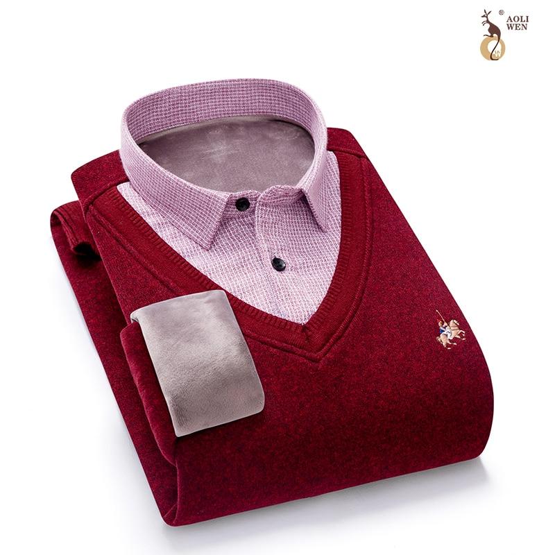 Aoliwen brand Sweater Men Casual V-Neck Pullover Men Slim Long Sleeve Mens Sweaters Knitted Pull Homme Men 2020 Autumn Sweater