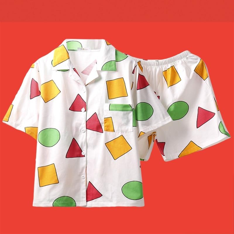 Conjunto de pijama bonito para mujer y hombre, tamaño grande, estampado geométrico, 3 piezas, conjunto de Tops de manga corta + Pantalones cortos, Cintura elástica + cegador suelto S98191
