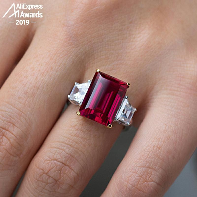 6.18 Sale 14*10mm Emerald Cut  6.18 Sale S925 Sterling Silver Ring SONA Diamond citrine sapphire amethyst ruby