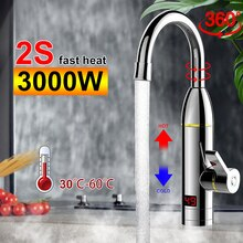 220V 3000W Kitchen Instant Heating Faucet Heater Hot Cold Dual-Use Tankless Water Quickly Heating Ta