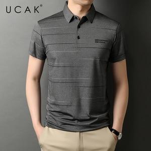 UCAK Brand Classic Turn-down Collar Cotton T Shirt Men Clothes Summer New Fashion Tops Streetwear Casual Soft Tshirt Homme U5477