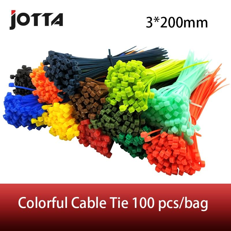 3*200mm Self-locking Nylon Cable Ties 8 inch 100pcs 12 color Plastic Zip Tie  binding wrap straps mayitr 10pcs black double flex cuff disposable self locking nylon cable ties plastic zip tie wire binding wrap straps