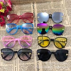 Óculos de sol infantil fofo para meninos e meninas, óculos amarelo rosa de olho de gato para crianças pequenas 2020 infantil