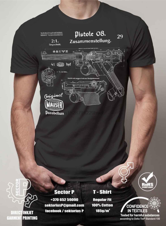 Nueva moda Cool Casual T Shirts WW2 alemán pistolie parabelum P08 Luger Vintage dibujos impresos camisetas