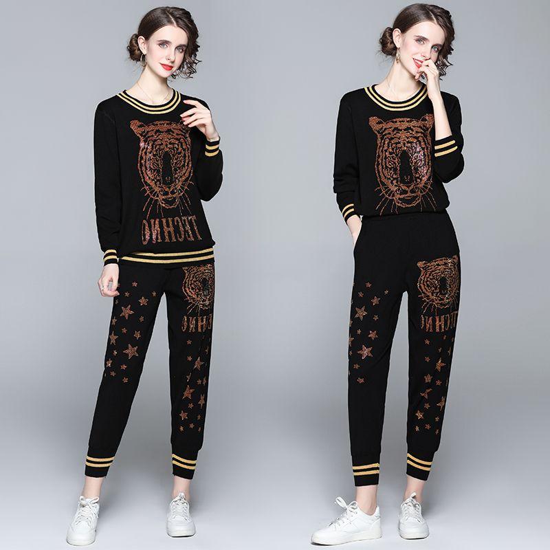 Fashion runway Tracksuit Women Tiger Diamond-encrusted Two Piece Set winter Streetwear Long Sleeve Top and Pants Set 6680